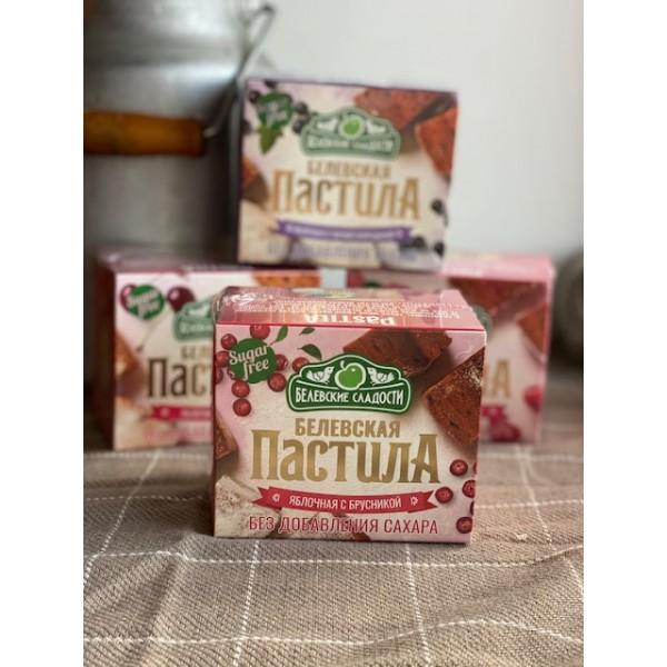 Белевская пастила яблочная с брусникой БЕЗ САХАРА 125г